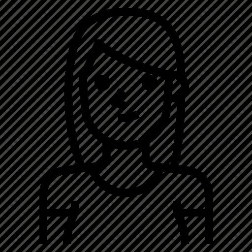 avatar, brown, girl, hair, ponytail, straight, woman icon