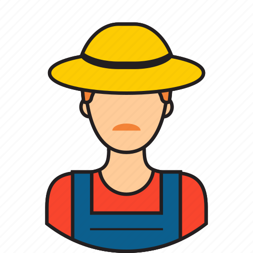 avatar, farmer, hat, man icon