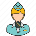 attendant, avatar, flight, stewardess, uniform, woman icon