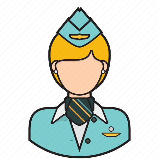 attendant, avatar, flight, stewardess, uniform, woman icon