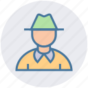 detective, fedora, gentleman, hat, male, man icon