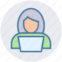admin, computer, girl, laptop, people, user, woman icon