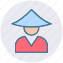 asian, avatar, conical, hat, japanese, man, traditional