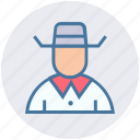 avatar, cowboy, hat, human, man, secretive, spy icon