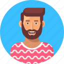 avatar, bearded man, male, male avatar, male person, user, young man icon