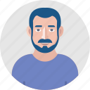 avatar, bearded man, face, male avatar, male person, user, young man icon
