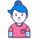 avatar, character, female, person, ponytail, user, woman icon
