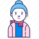 avatar, character, female, hair bun, person, scarf, woman icon