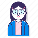 avatar, bookworm, character, female, nerd, person, woman icon