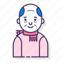 avatar, bald, character, elderly, man, old man, scarf