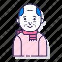 avatar, bald, character, elderly, man, old man, scarf icon