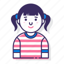 avatar, character, female, person, pigtails, user, woman icon