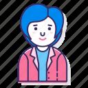 avatar, bob hair, character, female, person, user, woman icon