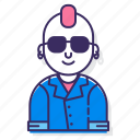 avatar, character, hipster, man, mohawk, person, user icon
