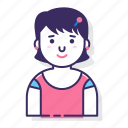 avatar, character, female, person, short hair, user, woman icon