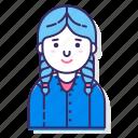 avatar, character, female, hair braid, person, user, woman