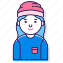 avatar, beanie, character, female, person, user, woman icon