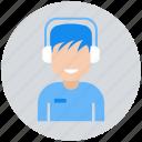 avatar, boy, listening, male, man, people icon