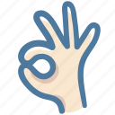doodle, fingers, good, hand, ok, ok hand icon