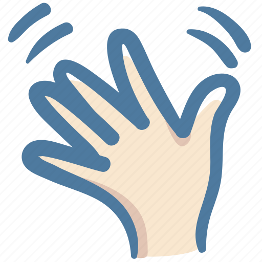 bye, doodle, gesture, hand, palm, vote, wave icon