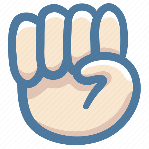 closed, doodle, fist, hand, knock, smash icon
