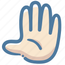 agree, doodle, fingers, five, hand, stop, vote icon