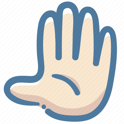 Doodle, stop, fingers, hand, five, vote, agree icon