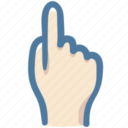 click, doodle, hand, leading, one, point, up icon
