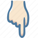 direction, doodle, down, hand, indicator, point icon