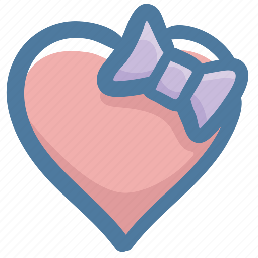 doodle, favorite, heart, like, love, ribbon icon