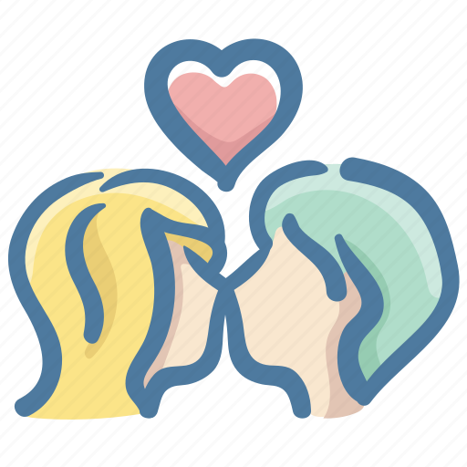 couple, doodle, heart, kiss, love, marriage, valentines day icon