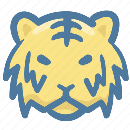 animal, avatar, doodle, tiger icon