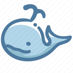 animal, avatar, basic, doodle, whale icon