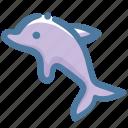 animal, dolphin, doodle, sea icon