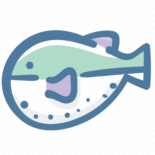 animal, doodle, fish, openbsd, puffer fish, sea icon