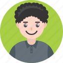 avatar, boy, curly, happy, kid, male, smile icon