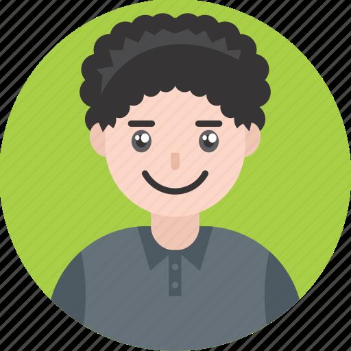 avatar, boy, curly, happy, kid, male, smile icon