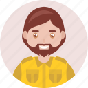 adult, avatar, beard, happy, male, man, smile icon