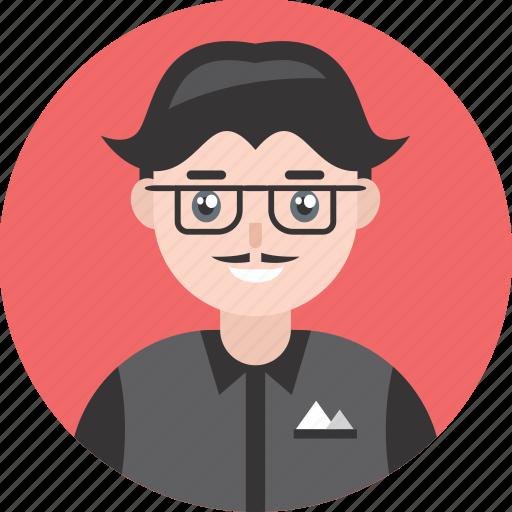adult, avatar, happy, male, man, mustache, smile icon