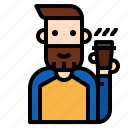 avatar, beard, boy, character, design, gentleman, hipster icon