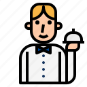 butler, catering, concierge, service, tray, waiter icon