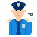 avatar, cartoon, man, police icon