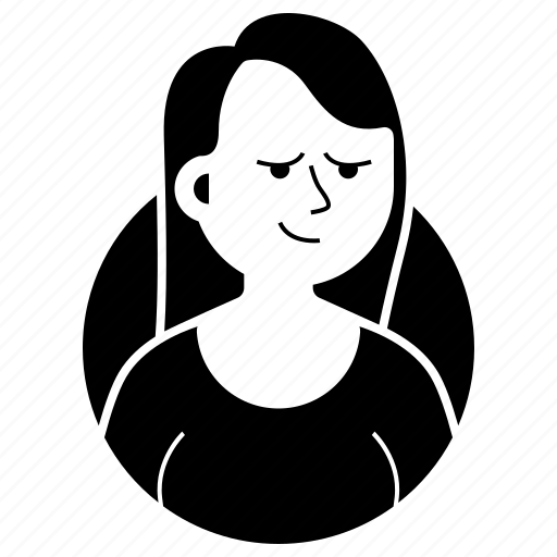 avatar, emoji, expression, girl, long hair, suspicious, woman icon