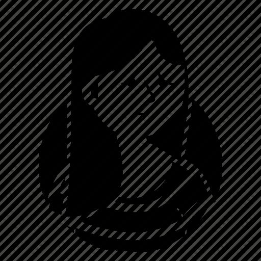avatar, emoji, expression, girl, long hair, sad, woman icon