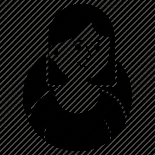 avatar, emoji, expression, girl, short hair, smile, woman icon