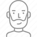 avatar, bald, beard, male, man, men, old icon