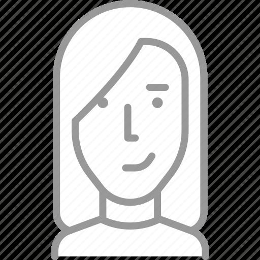 avatar, female, girl, hair, long, profile, woman icon