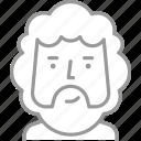 adult, avatar, beard, curly, hair, male, man icon