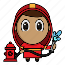 avatar, chibi, fire, firefighter, profession icon