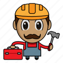 avatar, builder, chibi, construction, profession icon